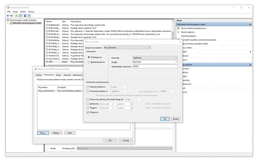 Harmonogram Zadań - Tworzenie zadania - Wyzwalacze / Wyzwalacz numer 2