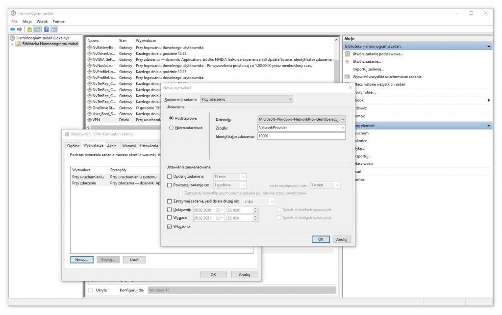 Harmonogram Zadań - Tworzenie zadania - Wyzwalacze / Wyzwalacz numer 3
