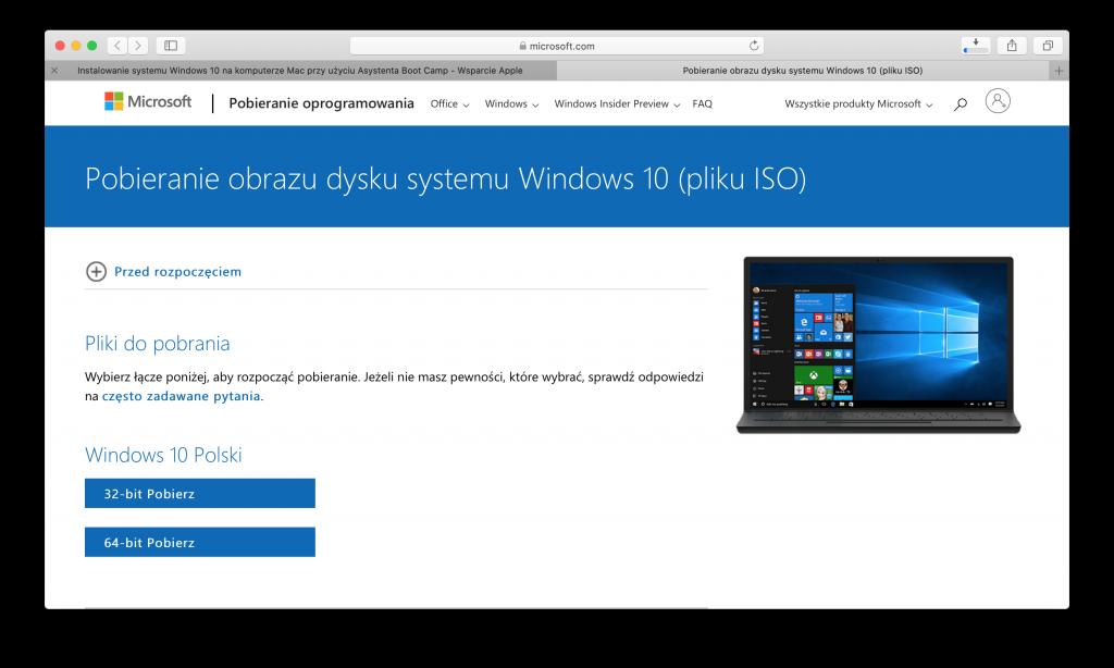 Pobieranie pliku ISO systemu Windows 10