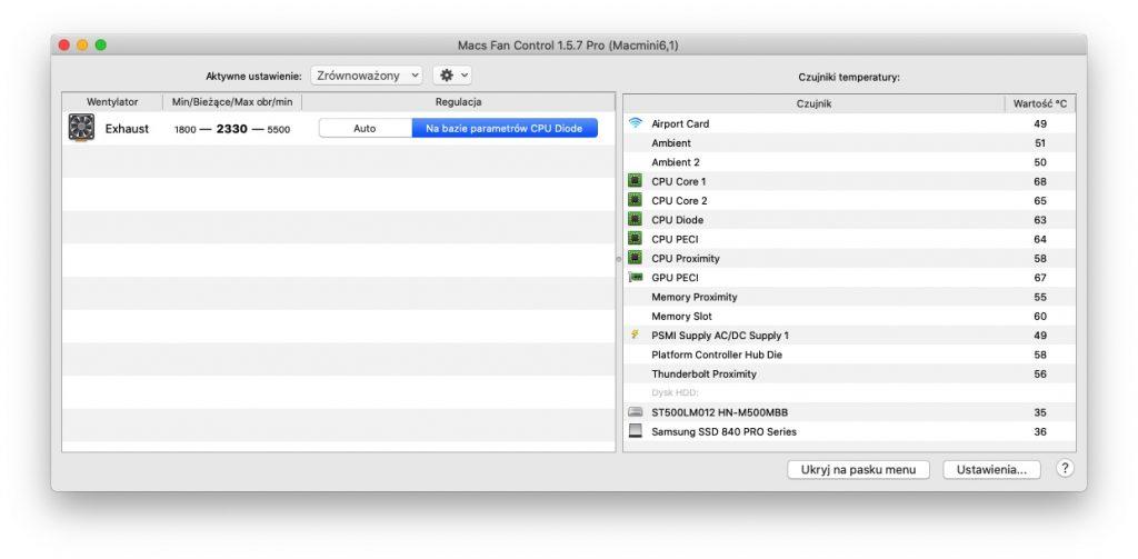 Monitorowanie temperatury : Macs Fan Control - Mac Mini 6.1