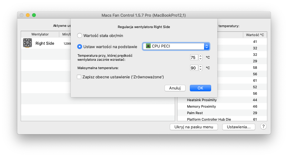 Regulacja wentylatora : Macs Fun Control - MacBook Pro 12.1