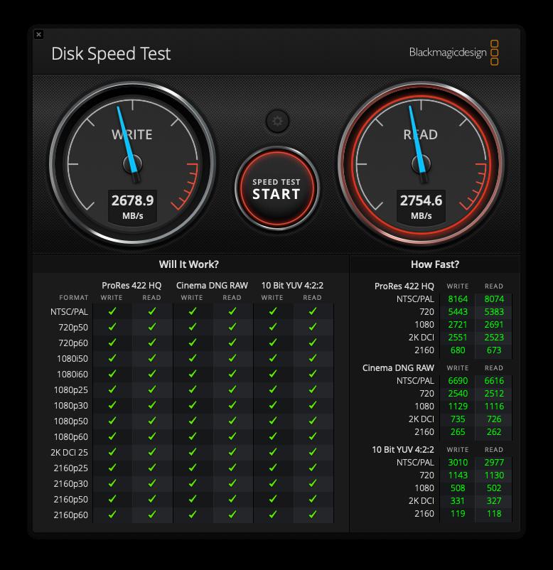 Disk Speed Test - Mac Mini 2018 ( model 8.1 )